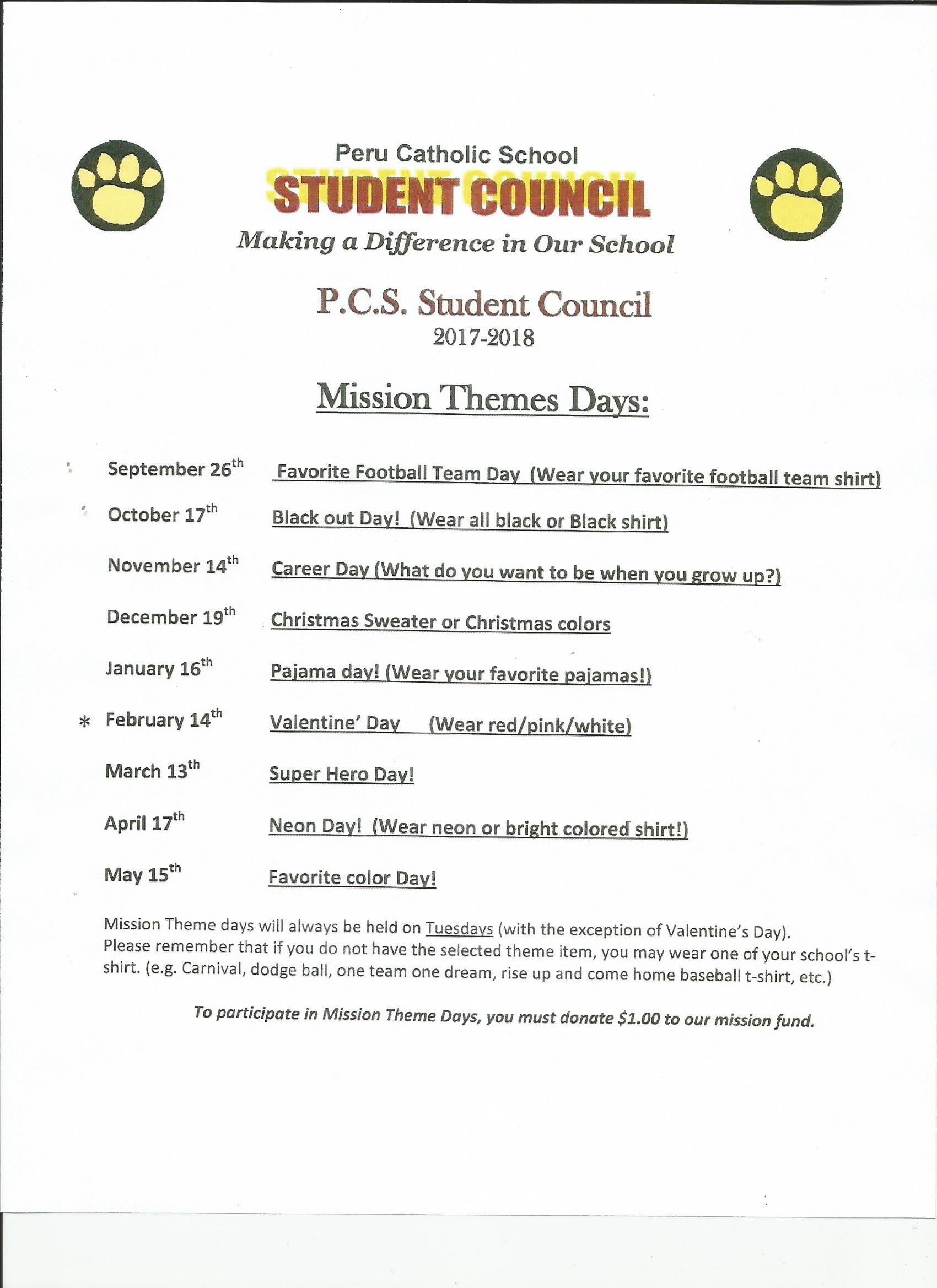 mission theme days 2017-18